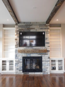 rustic home fireplace